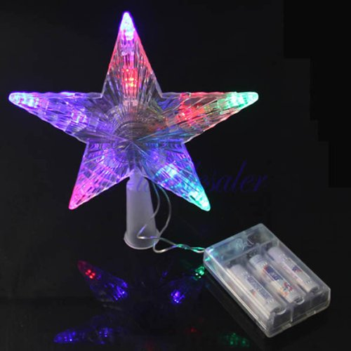 Flash Light Led Decoration Lamp Pentagram Star Aa Battery Indoor Outdoor Use