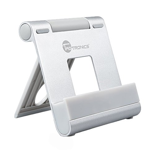 TaoTronics iPad Stand, Portable Tablet Smartphone Stand (Adjustable Kickstand, Aluminum Body, Multi-angle) for iPhone, iPad, Samsung Galaxy, LG, e-book, Android Windows Smartphone and Tablet - Silver (Ipad Windows compare prices)