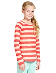 Pure Cotton Sequin Embellished Striped T-Shirt