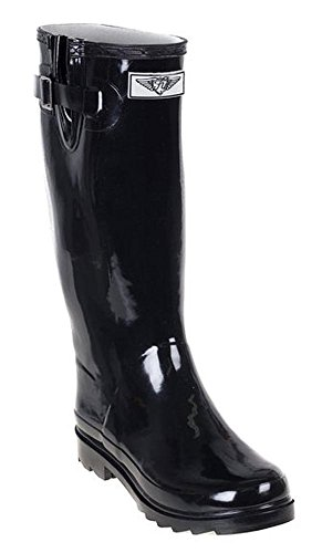 Forever Young - Womens Wellie Rain Boot, Black 37274-6B(M)US (Stylish Rain Boots compare prices)