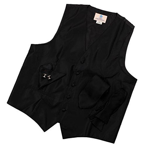 VS1003 Black Pattern Mens Vest Tie Cufflinks Hanky Bowtie Best Gifts By Y&G