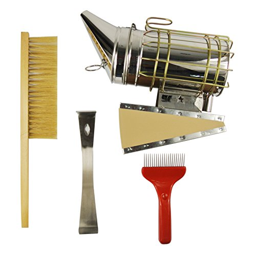 nava-4pcs-kit-stainless-steel-hive-tool-bee-brush-smoker-comb-wax-extracting-fork
