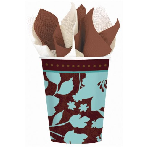 Cocoa Floral 9oz Paper Cups (8ct)