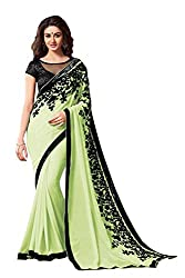 Morpankh enterprise Green Chiffon Saree ( flower pista saree )