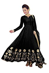 Clickedia Women's Faux Georgette Black Anarkali Salwar Suit Dress Material (Black_Free Size)