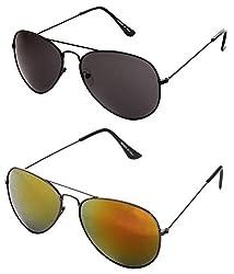 MagJons Black And Yellow Mirror Aviator Sunglasses Set Of 2 (With Box)