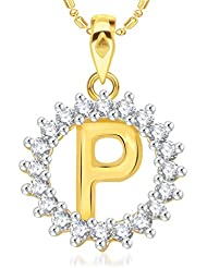 "VK Jewels Alphabet Initial Letter ""P"" Gold And Rhodium Plated Alloy Pendant With Chain For Men & Women- P1962G..."