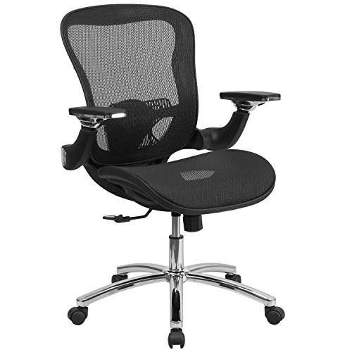 Mid-Back Black Mesh Executive Swivel Office Chair with Synchro-Tilt and Height Adjustable Flip-Up Arms Arm Swivel Office