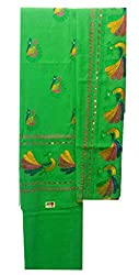 Lov Kush Unstiched Peacock Phulkari Suit (Parrot Green)