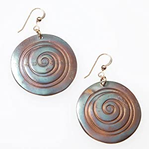 Spiral Iridescent Earrings on French Hooks