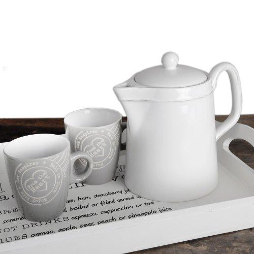 Landhaus Teekanne Milchkanne Kännchen Kaffee Shabby Chic Weiß Keramik