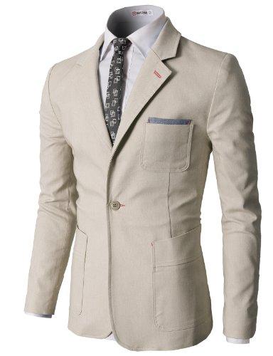 H2H Men`s Pastel Color Slim Fit Blazer Jackets with Pocket Trim BEIGE US M/Asia L (CMOBL01)