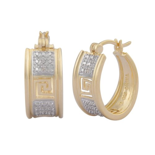 18k Yellow Gold Plated Sterling Silver Diamond Accent Hoop Earrings