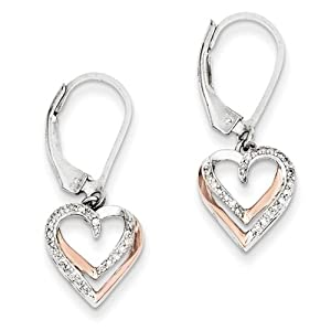 Sterling Silver &14k Rose Gold Diamond Heart Earrings