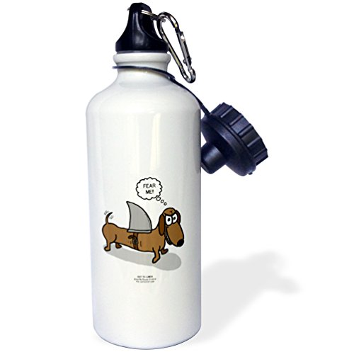 Rich Diesslins Out to Lunch Cartoons - OTL - Weiner Dog with a Sharks Fin - 21 oz Sports Water Bottle (wb_164020_1) (Weiner Dog Picture compare prices)