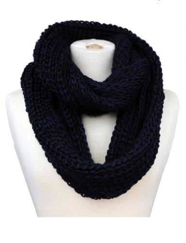 Women'S Warm Thick Knitted Infinity Scarf Yw015-Navy Blue