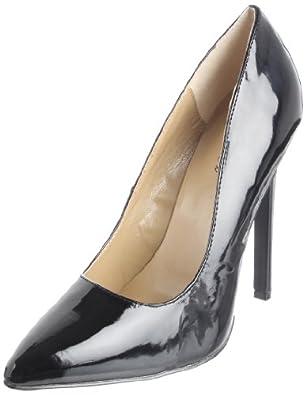 The Highest Heel Women's Hottie Stiletto,Black Patent,5 M US