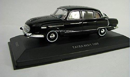 DieCast Metall Miniaturmodell Modellauto 1:43 Oldtimer Klassiker Tatra 603 schwarz 1960 Tschechischer PKW Foxtoys made by IST inklusive Kunststoff Vitrine