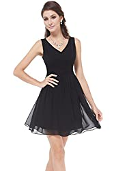 Ever Pretty Sleeveless Ruched Waist V-Neck Womens Short Party Dress 03909