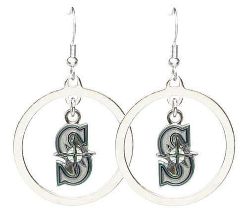MLB Seattle Mariners Floating Logo Hoop Earrings at Amazon.com