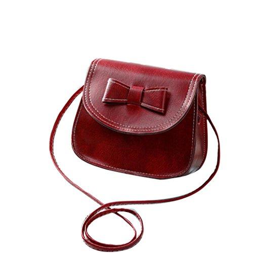Borsa a tracolla Clode® Donne Bowknot Moda Borsetta di Pelle Singola Spalla Messenger Bag Phone (Colour : Vino)