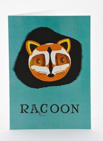 Petra Boase Paper Balloon Greeting Card - Raccoon front-49099