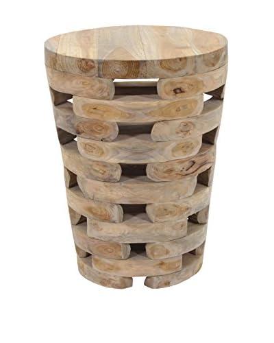 Jeffan Tapered Open Slat Wood Side Table, Natural