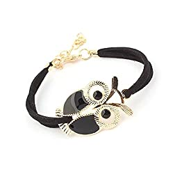 Sorella'z Golden Black Owl Bracelet for Girl's