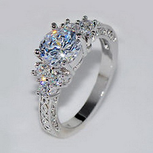 Jacob alex ring 5.80 ct Lab diamond White Sapphire Wedding Ring 10KT White Gold Jewelry Size 6