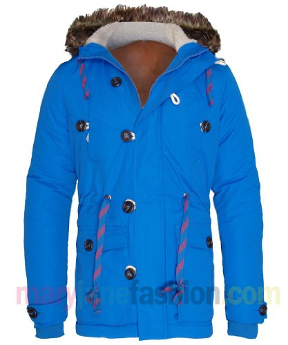 Mens Bellfield Bright Toggle Button Fur Hood Drawstring Jacket Coat XL Blue