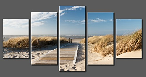 Canvas-Prints-Sk007-Wall-Art-Beach-Road-Stretched-and-Framed-Ready-to-Hang-5-Panelsbeach-Road-Canvas-Print-Photo-Canvas-Art-for-Home-Decoratio