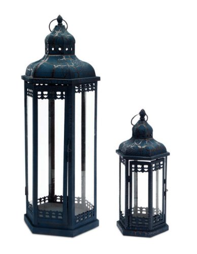 Set of 2 Distressed and Crackled Midnight Blue Mirage Pillar Candle Lanterns 24″