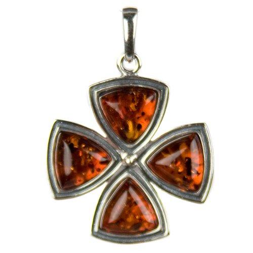Honey Amber and Sterling Silver Maltese Cross Pendant