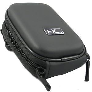 Ex-Pro Clam Sac / Caisse / Housse appareil photo - BLACK - pour Panasonic Lumix appareil photo - coquille dure enseignée la finition, doux à l'intérieur pour la protection, inclut la courroie d'épaule, En français l'agrafe de ceinture pour facile portent, Dimensions : (Intérieur) 100m x 70mm x 30mm, (Extérieur) 120mm x 90mm x 40mm