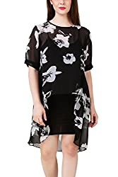 Fasense Women Floral Printed Kaftan Style Short Dress with Spaghetti, DR012 (Large)