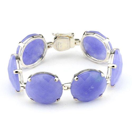 Sterling Silver Lavender Jade Circle Bracelet