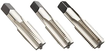 Union Butterfield 1500S(UNC)/1500S(UNF)/1500S(UNS) High-Speed Steel Hand Tap Set, Uncoated (Bright) Finish, Round Shank with Square End, 3-Piece (1 Taper, 1 Plug, 1 Bottoming Chamfer)
