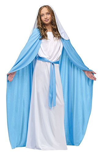 [Biblical Virgin Mary Costume Girls Child Religious Christmas Halloween Bible] (Girls Virgin Mary Costume)