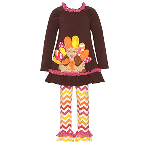 Rare Editions Baby Girls' Brown Pink Thanksgiving TURKEY Chevron Leggings outfit