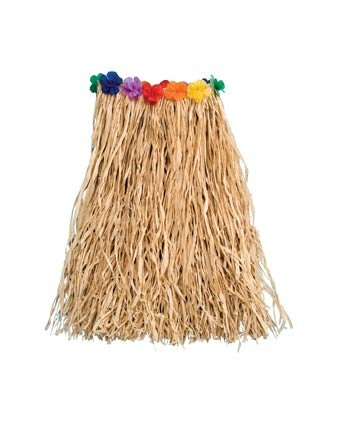Child Natural Raffia Hula Skirt with Flower 22in x 20in