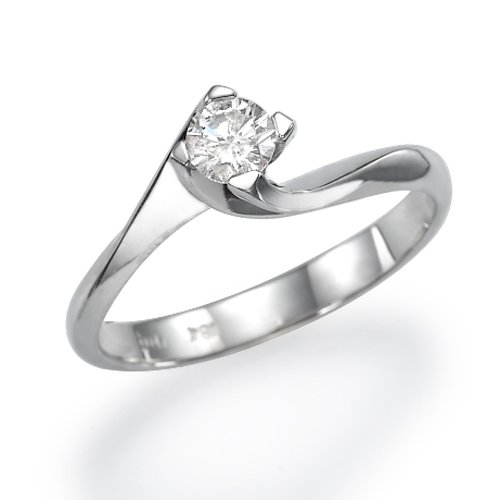 White Gold Engagement Ring 0.30 CT Round Cut Natural Diamond H/SI1 (Clarity Enhanced) 18ct
