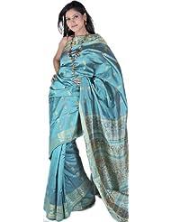 Exotic India Bright Aqua-Green Baluchari Sari From Bengal With Hand Wove - Green