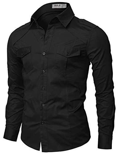 Doublju mens dress shirt with epaulet black us l apparel for Mens big and tall banded collar shirts