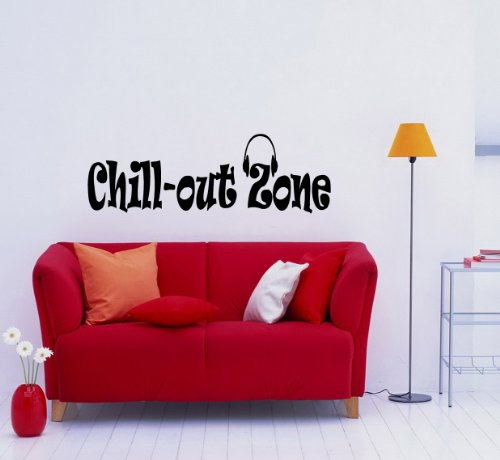 Housewares Vinyl Decal Music Headphones Chill Out Zone Phrase Home Wall Art Decor Removable Stylish Sticker Mural Unique Design For Any Room