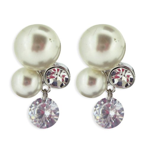 LovingtheBead © Simulated Pearl and Crystal Statement Earrings