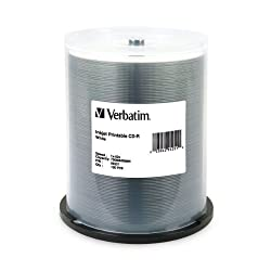Verbatim 95251 700 MB 52x 80 Minute White Inkjet Printable Recordable Disc CD-R, 100-Disc Spindle