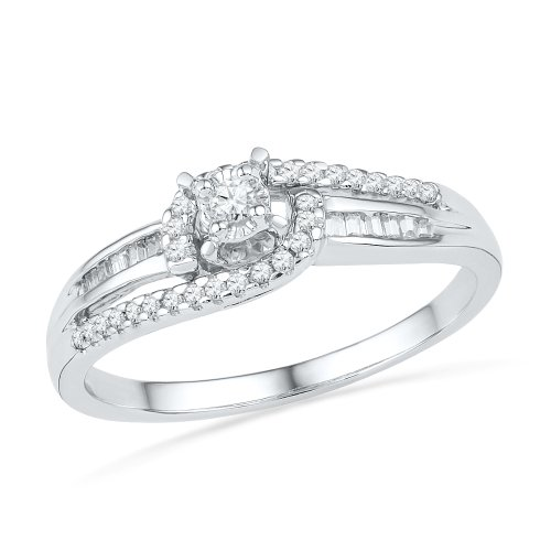 Sterling Silver Baguette and Round Diamond Promise Ring (1/5 CTTW)