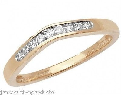 J R Jewellery 413525 9ct Yellow Gold Diamond Soft Wishbone Eternity Ring 0.15CTW