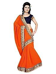 Aarya Designer Women's Georgette Saree (1002_Orange_Freesize)