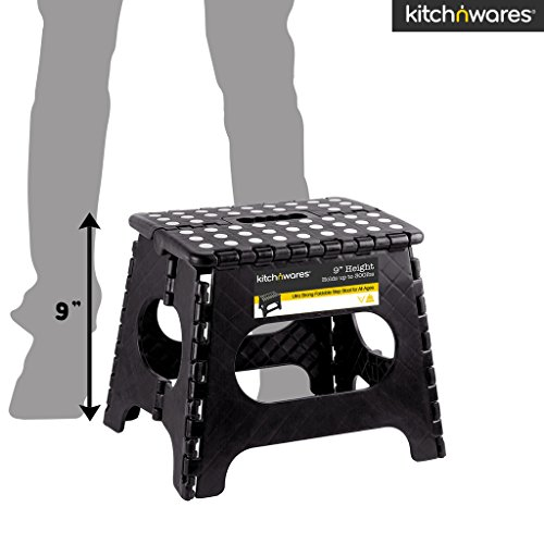 Kitch N' Wares - 9 Inch Heavy-Duty Quality Folding Step Stool With Handle - Safe Non Slip Surface For Kids And Adults - Super Handy Saves Space For Work And Home - Super Strong Holds Up To 300 Pounds